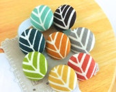 Handmade Small Blue Red Brown Green Orange Yellow Modern Herring Stripes Fabric Covered Buttons, Flat Backs, CHOOSE SIZE 8's