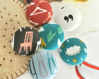 """Handmade Fun Retro Blue Brown Chair Home Daily Objects Fabric Covered Buttons, Small Home Sweet Home Warming Fridge Magnets, 0.8"""" 5's"""