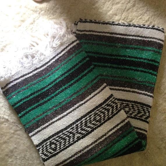 Vintage Serape Mexican Saltillo Blanket Rug Kelly Green