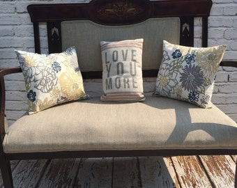 Vintage Bench, Loveseat, Loveseat Bench, Herringbone Fabric, End of Bed, Settee, Loveseat, Chaise, Couch, Sofa, Victorian Furniture