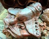 88. Wondrousstrange  Faux Raku Pre-Columbian Insectus Invictus Earthenware Gilders Paste Copper Verdigris Pendant