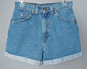 "True Vintage USA LEVIS 910 'White Tab' HiGH-WAiSTED 'Daisy Dukes' Cuffed Denim Shorts Sz 9 Waist 28"" Fine"