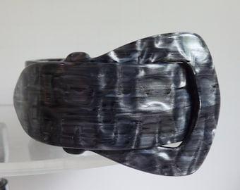 Lea Stein bracelet Lea Stein buckle bracelet cellulose acetate marbled gray bracelet black and white bracelet