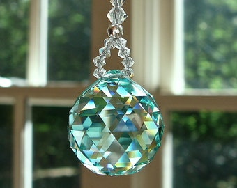 "Crystal Ball Swarovski Suncatcher, Car Charm, Office Cubicle,  Comes in 14 Colors, 2 Lengths - ""LITTLE SIMPLICITY"""