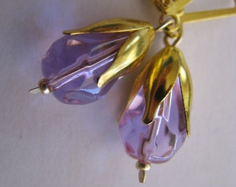 Lavender Earrings, Lavender and Gold Earrings, Light Purple Crystal Earrings