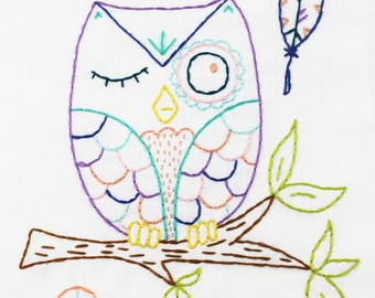 Woodland Owl Hand Embroidery PDF Pattern