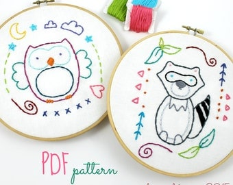 Woodland Animals Owl & Raccoon Hand Embroidery Pattern