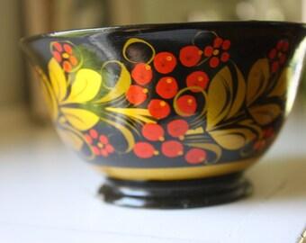 Vintage Khokhloma Folk Art Bowl Russia