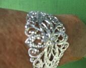 Bracelet Blank  Silver Filigree Bracelet Blank  1 Bracelet Blank  DIY