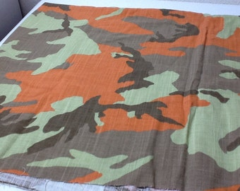 Camouflaged  Cotton Fabric,  one yard, green tan and orange