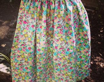 Handmade Fruit Salad Print Vintage Style Skirt