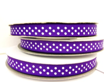 Polka Dot GROSGRAIN 3/8 inch x 25 yards .... your choice of 15 colors...33% OFF