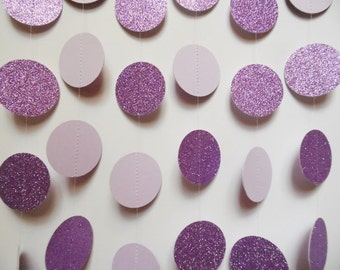 Lavender Party Decorations, Paper Garland, Glitter Dot Garland, Light Purple Birthday Party Decoration