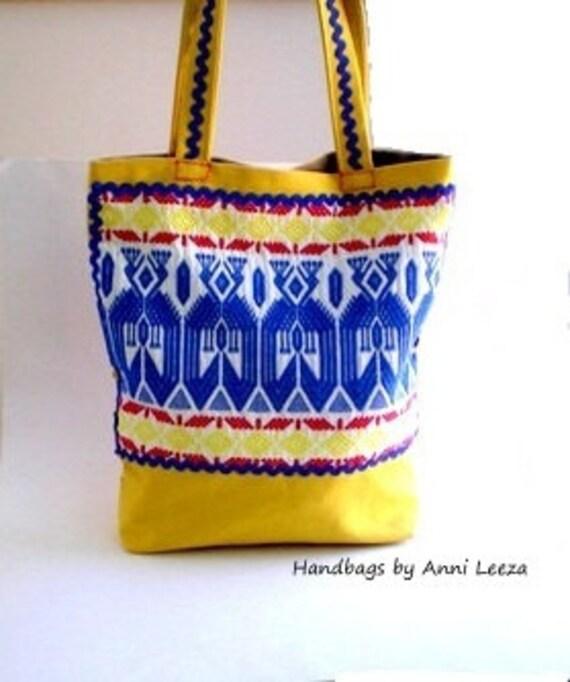 yellow canvas handbag, tribal bag, Aztec bag, bohemian bag, western bag, tote bag, book bag, shoulder bag, southwestern bag, ethnic bag