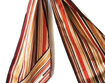 Fall fashion vintage 80s  autumn color strips silk , long scarf. Made by Oscar de La  Renta.