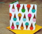 Blank Mini Card Set of 10, Mini Ice Cream Cone Design with Contrasting Pattern on the Inside, Bright Gold Envelopes, mad4plaid