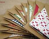 Blank Mini Holiday Set of 10 Cards, Asst Patterns with Contrasting Patterns on the Inside, Kraft Envelopes, mad4plaid