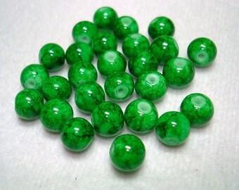 Green Splashed Round Glass Beads (Qty 25) - B2796