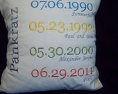 Custom Embroidered Significant Life Event Pillow