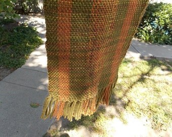 "Soft, Handwoven One-of-a-Kind Scarf in shades of greens and light rusts 58""X7"""
