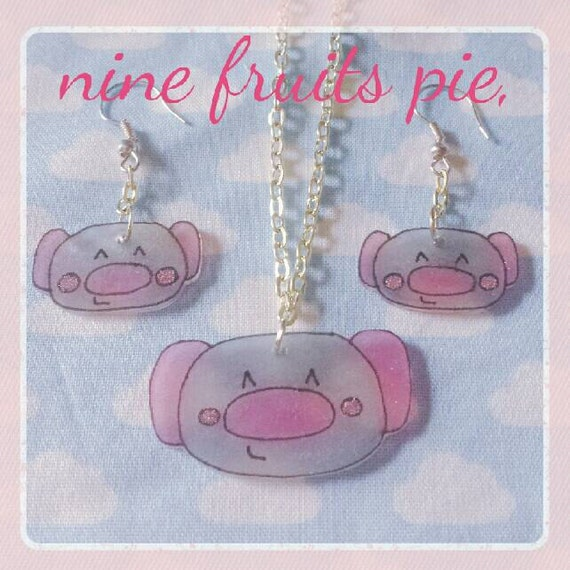 Kawaii Koala Necklace and Earring Set - Pink and Grey