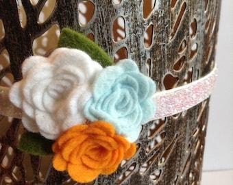 "3/8 "" Powder White Elastic Headband With Felt Flower Trio, Baby Headbands, Spring, Floral Headbands, Baby Girls, photo props"
