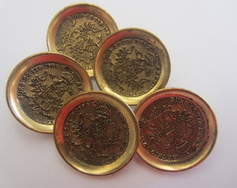 Vintage Buttons -5 bronze crested, metal buttons, (apr 181)