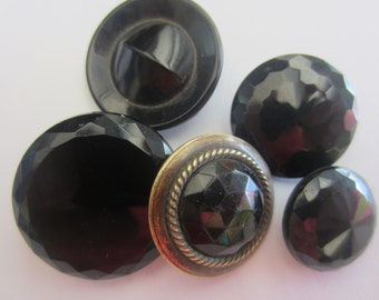 Vintage Buttons - lot of 5 jet black mourning glass, Victorian, sizes medium to large (lot apr 150 )
