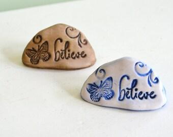 Believe sign, Believe butterfly stone for Fairy garden: cast marble stone