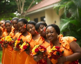 Real Touch Orange Calla Lilies Yellow and Red Silk Flowers Tropical  Bridal Bouquet Destination Wedding Package set