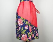 Vintage Red Sheer Blue Floral Half Apron