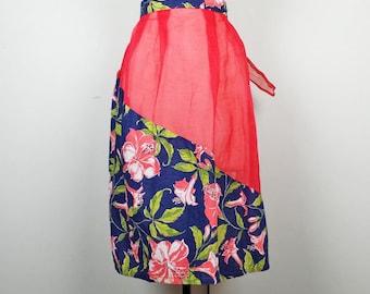 Vintage Red Sheer Blue Floral Half Apron
