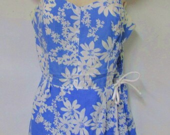 Seawave swimsuit top 1960s blue white cotton poly size 10