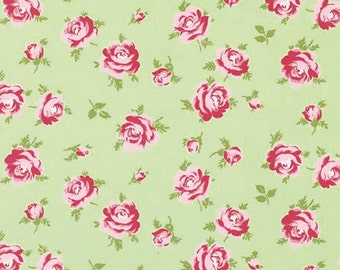 Rosey Fabric by Tanya Whelan - Little Roses in Green
