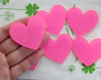 Glitter heart acrylic cabochons 4pcs 45mm x 42mm Bright pink Neon pink new item