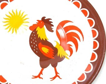 60's Tin Toy Tea plate, Morning Rooster with yellow, orange & brown.