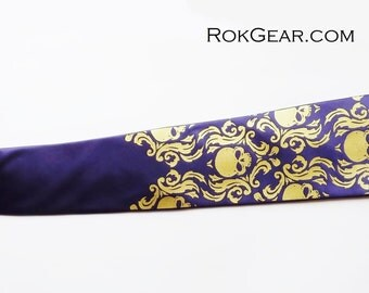 Men's necktie, damask skull tie