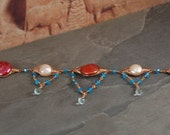 Decadent Drops Collection-Rose Gold Gemstone and Pearl Bracelet-Adjustable Length
