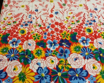 Vintage 50s / 60s Floral Border Print Cotton Fabric...3.75+yards...New Old Stock with tags