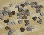 """Heart Buttons - Primitive Hearts Button - Purple Tan Linen Colors - 1/4"""" - 40 Buttons"""