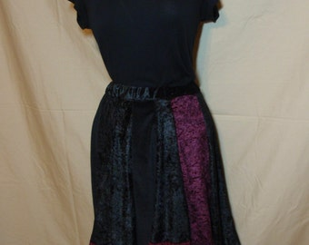 Black and Maroon Panne Crushed Velvet Velour Short Panel Skirt Elastic Waistband Size X Small