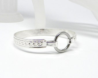 Made To Order Chained Affection Sterling Silver Slave Cuff With Stainless Steel Locking Clasp