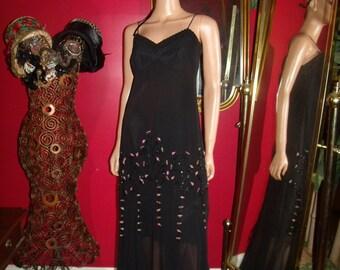 Black Vintage Flapper Dress Embroidery   20s Theme  Size 4