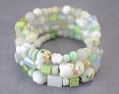 Lily of the Valley memory wire bracelet wide cuff beaded stacked look wrap bracelet white pale green light porcelain glass gemstone one size
