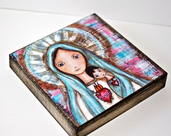 Immaculate Heart of Mary with Child -  Giclee print mounted on Wood (4 x 4 inches) Folk Art  by FLOR LARIOS