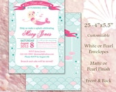 Mermaid Birthday Party Invitations 25 4x5.5 press printed cards with envelopes customizable