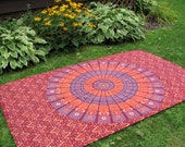 Tribal Orange, Wine and BlueTapestry Picnic Blanket , Stake Down Design