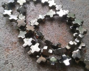 4 8mm Square Pyrite  Crosses