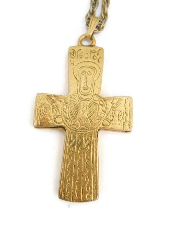 vintage hobe large cross pendant necklace engraved