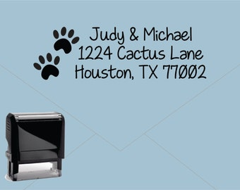 Self Inking Return Address Stamp * Custom Address Rubber Stamp (E241) Puppy Dog Paws Cat